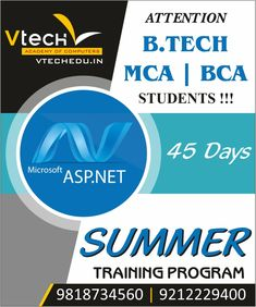 This is the best way utilize your Summer Vacations month May, June & July after complete your Degree BCA, B.tech, MCA, B.Sc IT or M.Sc IT. Also can join who are pursuing any Graduation. Enroll now career program ASP .NET programming course.