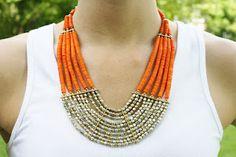 <3 this orange beaded statement necklace! $25