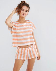 Image 1 of ASOS Contrast Stripe Tee & Short Pyjama Set