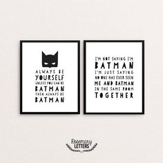 Batman Print, Gift for Him, Gift for Husband, Set of 2 Batman Prints, Batman Nursery, Batman Party, Superhero Print, Superhero Party