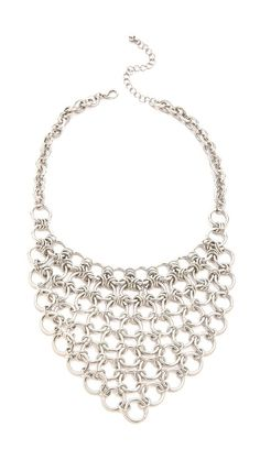 Jules Smith Round Chain Bib Necklace/ Perfect to throw on with a T-shirt, jeans and leather jacket...