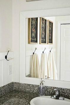 DIY framed bathroom mirrors - THE EASY WAY! See how to frame your bathroom mirrors to make your bathrooms look amazing & it's so simple! A must pin! Bathroom Mirror Makeover, Small Bathroom Mirrors, Bathroom Mirror With Shelf, Rustic Bathroom Shelves, Diy Vanity Mirror, Wooden Bathroom, Bathrooms, Boho Bathroom, Basement Bathroom
