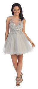 Elegant-2015-Homecoming-Prom-Short-Cocktail-Sleeveless-Tulle-Dress-Beaded-Bodice