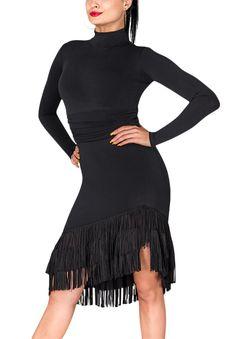 DSI Shannon Latin Dance Skirt 3263  | Dancesport Fashion @ DanceShopper.com Dance Fashion, Fashion Dresses, Latin Ballroom Dresses, Latin Dresses, Baile Latino, Black Dress With Sleeves, Tango Dress, Dance Outfits, Ladies Dress Design