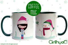 Green Christmas mug Christmas China, Green Christmas, Christmas Mugs, Christmas Dinnerware, Mug Rugs, Coffee Mugs, Cups, Porcelain, Characters