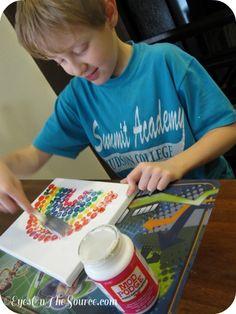 Canvas Rainbow Button Art. Fun DIY craft to do with kids!