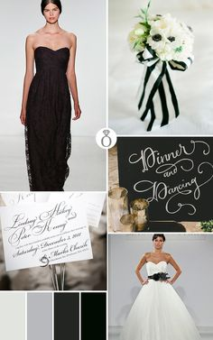 black and white wedding color palette ideas