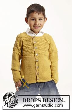 "Clever Clark Cardigan - Knitted DROPS jacket with raglan and textured pattern in ""Cotton Merino"". Size 1-10 years - Free pattern by DROPS Design"