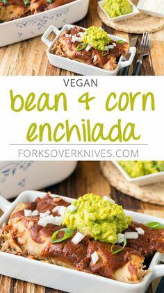Bean & Corn Enchiladas - Plant-Based Vegan Recipe