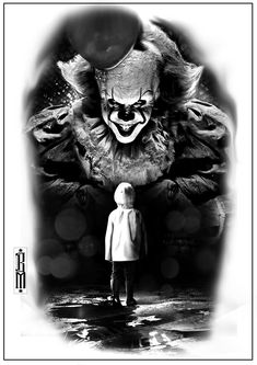 clown it tattoo boy scarry clowns flood black and grey digital designs scarry creepy clowns