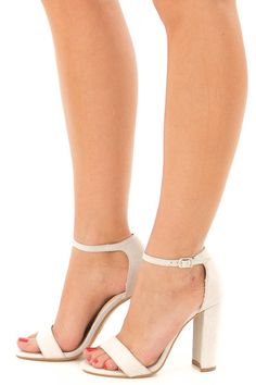 10107fd436a Cement Faux Suede Sandal High Heel with Thin Ankle Strap. Lime Lush Boutique