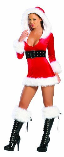 607145b047f7 J. Valentine Women's Christmas Hooded Velvet Mini Dress Lingerie Outfits,  Sexy Lingerie, Christmas