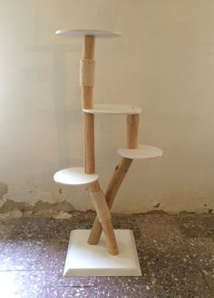 Natural wood scratch tree / big cat tree / white by TheShiningWood