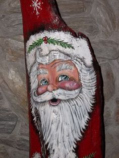 Unique One Of A Kind Hand Painted Driftwood Santa Claus gourd cypress knee Christmas Makes, Christmas Wood, Christmas Signs, Christmas Ornaments, Christmas Ideas, Christmas Decorations, Painted Driftwood, Painted Gourds, Driftwood Art