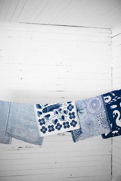 Linen tea towels woven in Finland by Lapuan Kankurit
