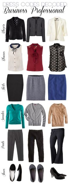 black blazer, tweed blazer, white blazer, white/black blouse, burgundy tie blouse, sheer black with white dots blouse, black pencil skirt, grey wool skirt, colored skirt, green cardy, grey cardy, camel pullover, grey crops, black crops, black slacks, black and grey flats, black pumps