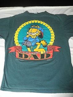 Vintage Garfield Worlds Greatest Dad Father's Day Jim Davis T-shirt Large 1978