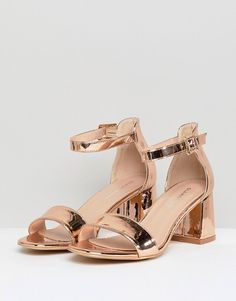 Buy Glamorous Barely There Mid Heeled Block Sandal in Rose Gold at ASOS. Get the latest trends with ASOS now. Pretty Shoes, Cute Shoes, Me Too Shoes, Bridal Shoes, Wedding Shoes, Shoe Boots, Shoes Heels, Block Sandals, Aesthetic Shoes