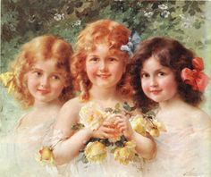 Painting by Emile Vernon - 3 Sisters