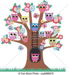 Vecteur - Hiboux, arbre - Banque d'illustrations, illustrations libres de droits, banque de clip art, icônes clipart, logo, image EPS, images, graphique, graphiques, dessin, dessins, image vectorielle, oeuvre d'art, art vecteur EPS