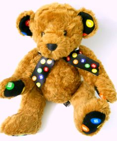 M&M's Stuffed Plush Bear Brown Jointed Arms Legs Colorful Scarf Ears Paws #MMs