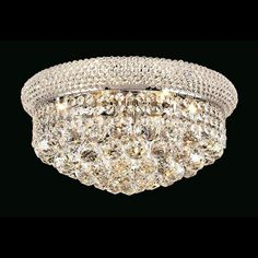 "Elegant Lighting 1800F16C/EC Primo Collection Flush Mount Light Fixture D16"" x H8"" Chrome Finish (Elegant Cut Crystals)"