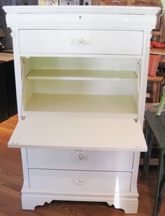 @Crystal Chou Sandoval, saw this idea on t.v. today: use a piano hinge to turn a drawer into the drop down desk part! You can paint the inside a fun color and put in shelves or dividers