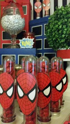 Spiderman birthday party treats! See more party planning ideas at CatchMyParty.com!