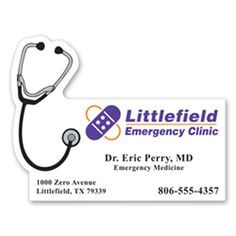 Stethoscope Mag-Tag #S309 Part business card, part magnet! This magnetic accessory features a stethoscope design along the upper left corner; making it ideal for promoting medical offices and elder care providers. Always-in-stock and approximately 0.020 thick, this healthcare magnet can be customized with your company name, logo and specific message. The finished products are great for sending as promotional mailers to patients, potential customers or employees.