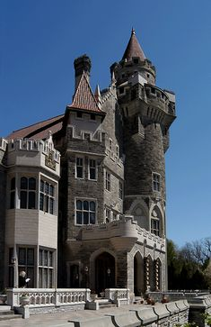 Casa Loma in Toronto  ~~  Toronto's Majestic Castle, Casa Loma. The former home of Canadian financier, Sir Henry Pellatt.  Canada's foremost castle complete with decorated suites, secret passages, an 800 foot underground tunnel, towers, stables and beautiful 5 acres estate gardens, all in a 98 room castle.