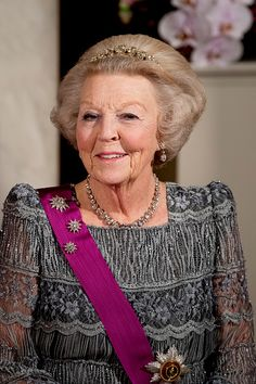 Princess Beatrix of The Netherlands during the official photo ahead the state banquet for the Belgian King and Queen on November 28, 2016 in Amsterdam, Netherlands.