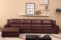 Cofonia Modern Wine Red Leather Corner Sofa(1+3+right chaise) - MelodyHome.com