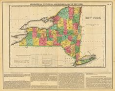 1822 geographical statistical and historical map of new york