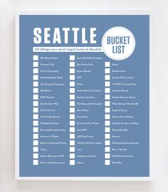 Seattle Bucket List Wall Art Print by OwlYouNeedIsLoveShop on Etsy https://www.etsy.com/listing/262407753/seattle-bucket-list-wall-art-print