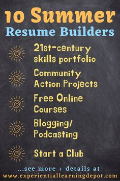 Help high school students prepare for college and careers by encouraging resume building this summer. There are a lot of ways to prepare for life after high school, and these resume builder ideas will keep teens engaged the whole summer. #collegeandcareer #highschoolactivities Looking For Employees, High School Resume, Life After High School, High School Activities, Career Exploration, Writing A Business Plan, Resume Builder, Experiential Learning, 21st Century Skills