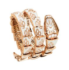 Wristwatch with two towers jewelry Serpenti pink gold set with 385 brilliant-cut diamonds (4.12 cts) and has a white mother of pearl dial 33 diamonds punctuated