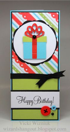 christmas paper for a birthday...cool (from Wizard's Hangout: 3.5 x 8 cards
