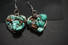 Hand made turquoise, brown and silver dangling earrings