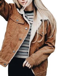Simplee Apparel Women's Winter Cordurory Lamb Warm Retro Sherpa Lined Trucker Jacket Coat *** Want additional info? Click on the image.