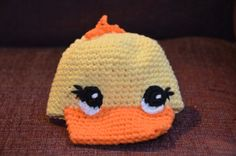Ducking baby hat by CabinCrochet on Etsy, $28.00