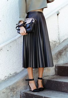 PU Midi Pleated Skirt- Skirt