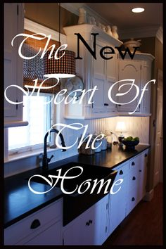 StoneGable: STONEGABLE'S FARMHOUSE KITCHEN REVEAL, different upper and lower cabinet styles, white appliance.