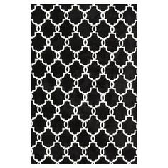 Rug with Moroccan-inspired lattice motif.  Product: RugConstruction Material: 100% PolyesterColor: OnyxFeatures: Machine made Note: Please be aware that actual colors may vary from those shown on your screen. Accent rugs may also not show the entire pattern that the corresponding area rugs have.Cleaning and Care: Clean spills immediately by blotting with a clean sponge or cloth. Vacuum carefully without beater bar. Professional cleaning recommended. Rug pad recommended for use on hard floor.