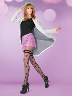 Gabriella Hatty Mock Over The Knee Tights Patterned Opaque Pantyhose