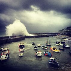 Mousehole Harbour Storm Cornwall