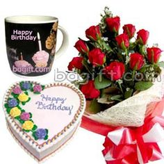Send Red Roses With Cake Birthday Mug To Dhaka