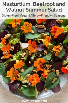 Nasturtium, Beetroot and Walnut Summer Salad is super quick, super easy and super cheap. Nasturtiums in a salad are incredible looking and incredible tasting. Kind of like mustard but nicer. Salad Recipes Gluten Free, Vegan Recipes Easy, Vegetarian Recipes, Summer Salads, Spring Salad, Flower Food, Edible Flowers, Beetroot, Vegan Dishes