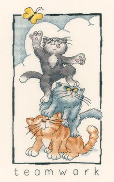 Teamwork - Cats Rule! Cross Stitch Kit by Heritage Crafts