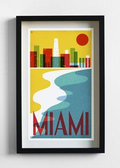 MIA Miami Travel Poster Print - Pilot and Captain