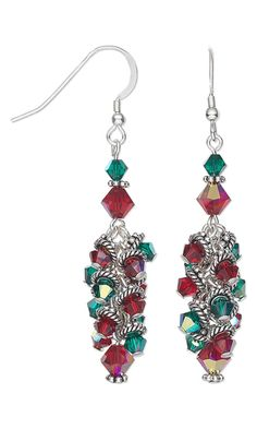 Earrings with Swarovski Crystal Beads and Sterling Silver Beads-perfect for Christmas